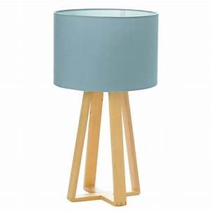 Lampe À Poser Scandinave : lampe poser bois scandinave 47cm bleu ~ Melissatoandfro.com Idées de Décoration