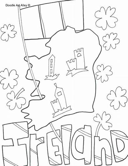 Coloring Ireland Pages St Patricks Doodle Country