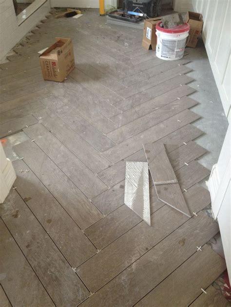 floor   Bathroom floors, herringbone chevron pattern faux