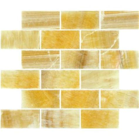 ms international honey subway 12 in x 12 in x 10 mm polished onyx mesh mounted mosaic tile