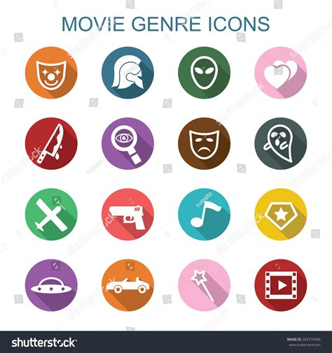 Film Anime Genre Comedy Movie Genre Long Shadow Icons Flat Stock Vector 263174396