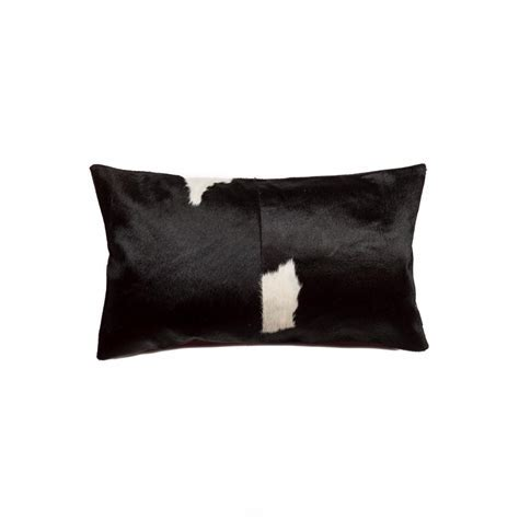 Torino Black and White 12 in. x 20 in. Cowhide Pillow