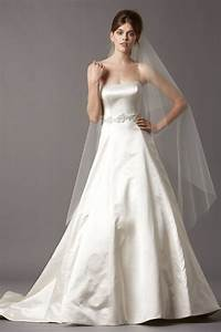 simple strapless a line long satin wedding dress with lace With strapless a line wedding dress