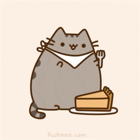 pusheen cat eats cake animated gif speakgif