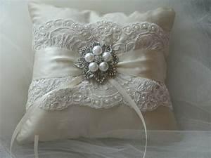 wedding ring bearer pillow ivory duppioni silk ringbearer With ring pillows wedding