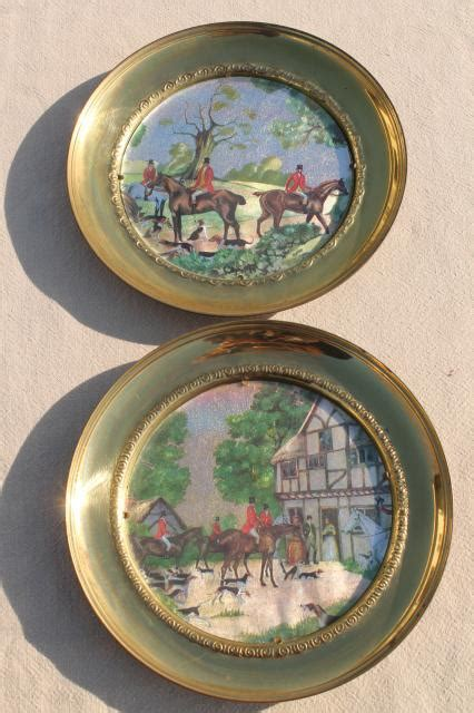 vintage english country hunt scenes brass wall plaques