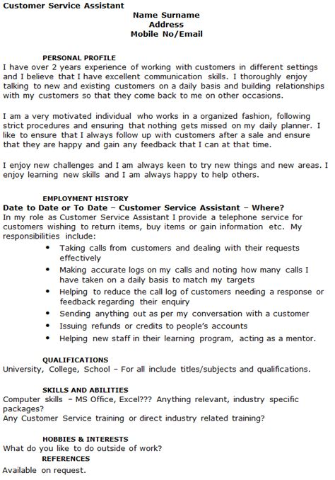 customer service assistant cv exle icover org uk