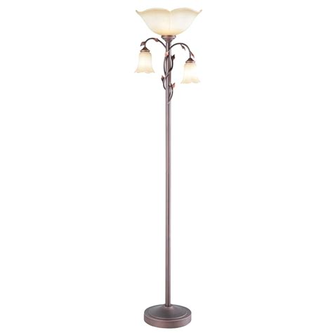 bronze torchiere floor l with reading light shop allen roth eastview 72 4 in rubbed bronze