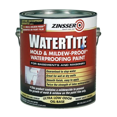 zinsser garage floor paint zinsser 1 gal watertite mold and mildew proof white oil based waterproofing paint case of 2