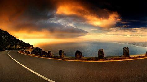 beach road  sunset fond decran hd arriere plan