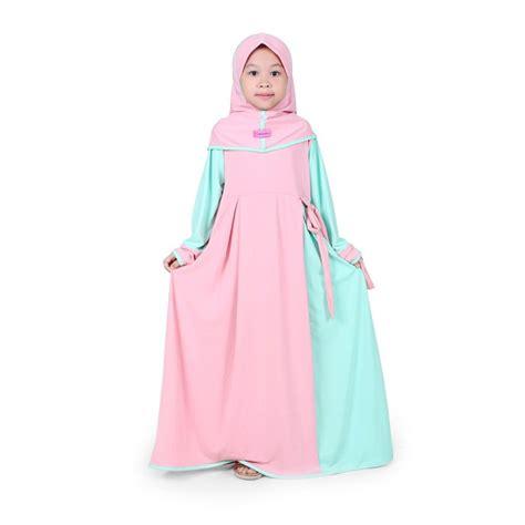 jual baju muslim anak perempuan jersey peach mint bajuyuli