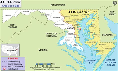 area code map    area code  maryland