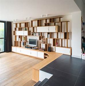 Grande Bibliothque Meuble TV En L Contemporain