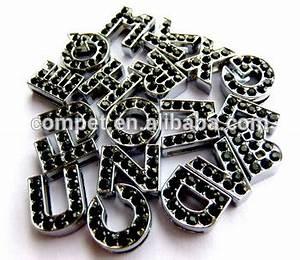 diy 10 mm black stone rhinestone slide letters for 10 mm With black rhinestone letters