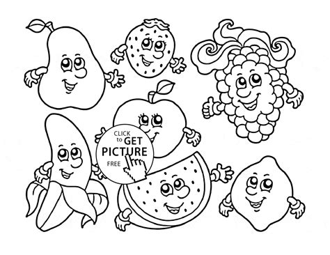cartoon fruits coloring page  kids fruits coloring