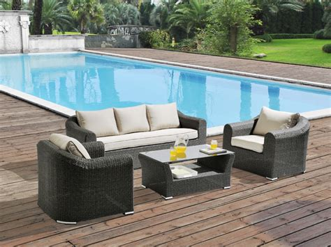 Salon de jardin PARAIBA en ru00e9sine tressu00e9e grise - assise cru00e8me un canapu00e9 3 places 2 fauteuils ...