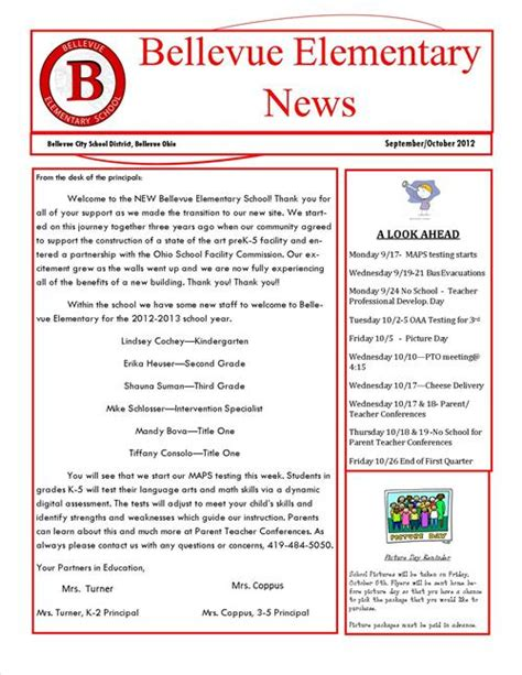 september october newsletter bellevue elementary school