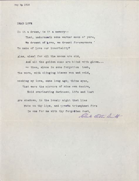 dead love poem typed manuscript signed tmss sonnet