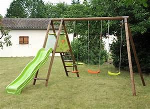 Toboggan Enfant Pas Cher : balancoire en bois avec toboggan pas cher les cabanes de ~ Dailycaller-alerts.com Idées de Décoration