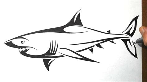 draw  shark tribal tattoo design style youtube