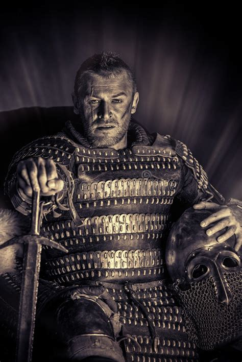 Dangerous Man With Medieval Sword Stock Photo - Image of ...