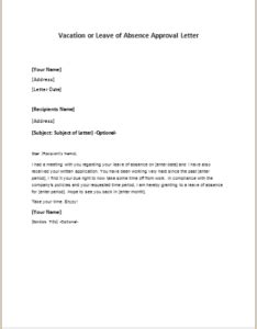 personal leave of absence letter vacation or leave of absence approval letter 8352