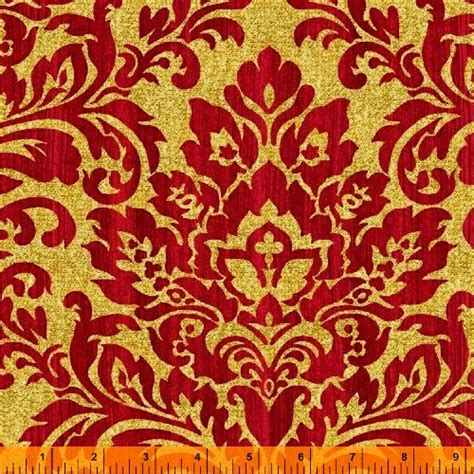 Cotton Quilt Fabric Christmas Damask Holiday Elegance Gold