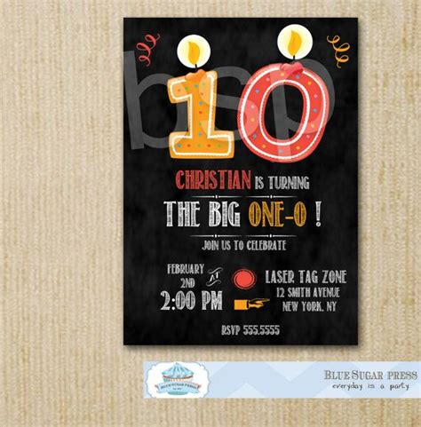 Personalized Birthday Party Chalkboard Invitations 10th