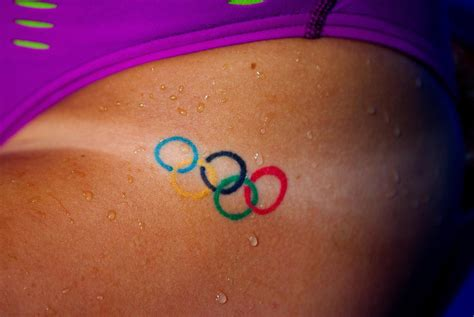 swimmers olympic rings tattoo  badge  honor