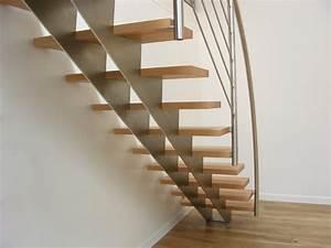 Escalier Droit Bois : escalier droit design inox et bois contemporain ~ Premium-room.com Idées de Décoration