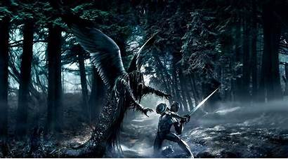 Demon Wings Sword Warrior Forest Protect Wallpapers