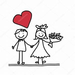 Dessin Couple Mariage Noir Et Blanc : main dessin dessin anim de couple heureux mariage ~ Melissatoandfro.com Idées de Décoration