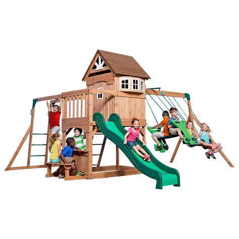 backyard discovery montpelier cedar wooden swing set backyard discovery montpelier all cedar playset shop