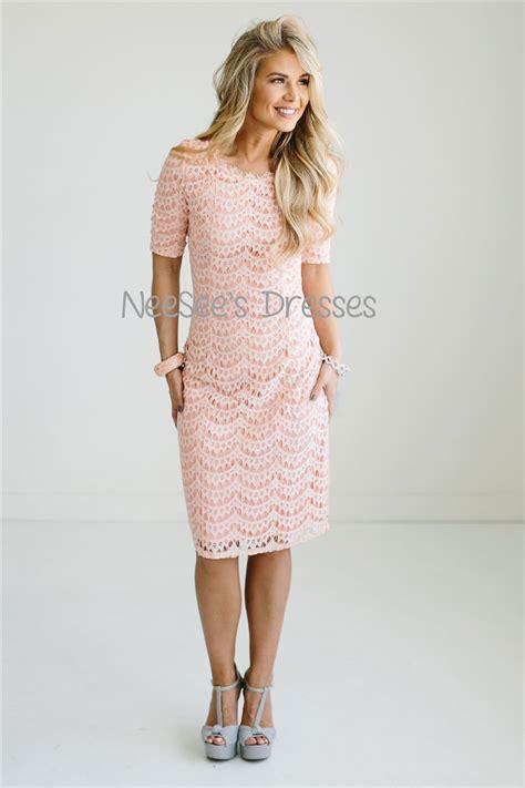 pink dres v pale pink lace modest dress modest bridesmaids dresses