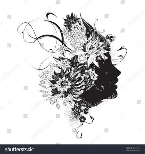 Abstract Flowers Black And White by Abstract Profile With Flowers Black And White Stock