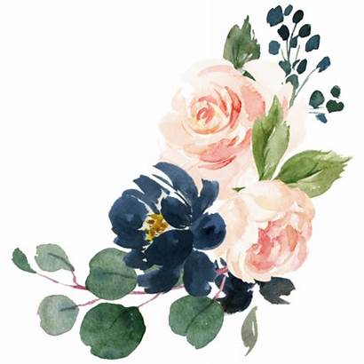 Navy Blush Pink Floral Watercolor Sticker Country