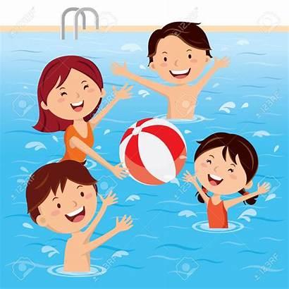 Swimming Clip Pool Fun Having Teens Vector