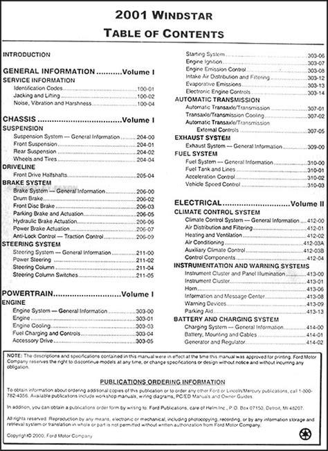 car repair manuals online pdf 2002 ford windstar lane departure warning 2001 ford windstar repair shop manual 2 volume set original