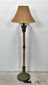 Decorative woven wicker shade floor lamp for Floor lamp with woven shade