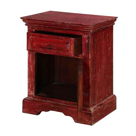 Mango Wood Nightstand by Firehouse Distressed Mango Wood 1 Drawer Nightstand