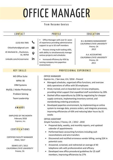 office manager resume sample tips office manager