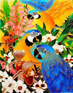 Glass, Painting, Of, Macaw, Parrots, U2013, Creative, Art