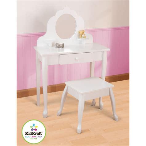 coiffeuse en bois coiffeuse et tabouret blanc pour enfant mobilier enfant