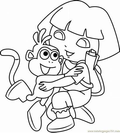 Dora Coloring Monkey Hug Hugging Pages Explorer