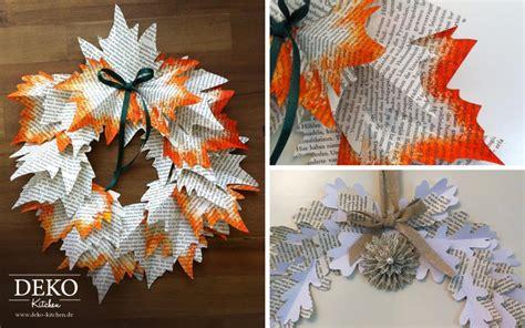 Basteln Herbstdeko Papier by Diy Deko Herbstkranz Aus Buchseiten Deko Kitchen
