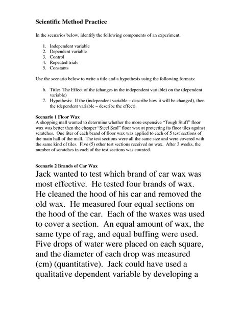 scientific method story worksheet answer key scientific method scenarios worksheet science materials