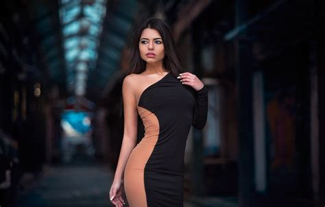 wallpaper pose model makeup figure dress brunette