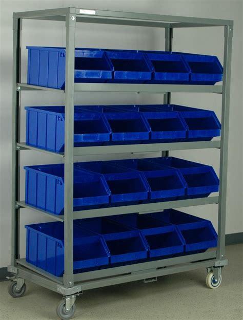 stackbin sloped steel shelf cart  plastic bins