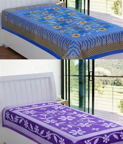 elegance multicolor cotton single bed sheets combo of 2