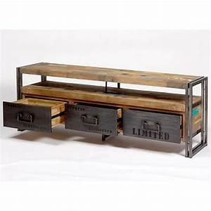 Meuble Tv Industriel : meuble tv industriel fer et bois factory samudra livraison gratuite ~ Teatrodelosmanantiales.com Idées de Décoration